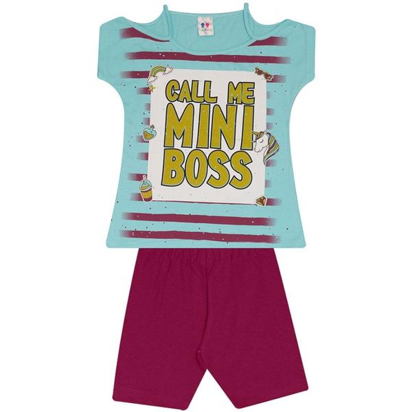 Conjunto Infantil Menina Blusa Mini Boss Azul e Short Roxo