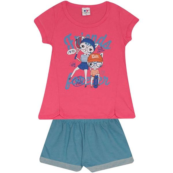 Conjunto Infantil Menina Blusa Friends Gatinhas Pink e Short Azul