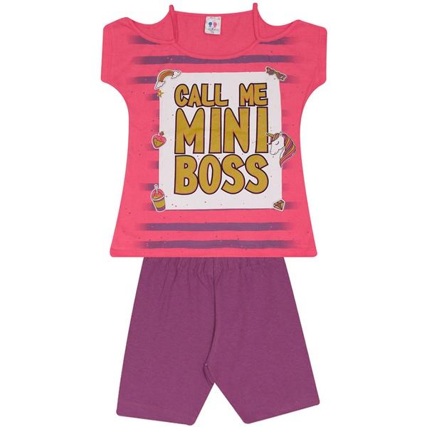 Conjunto Infantil Menina Blusa Mini Boss Rosa e Short Roxo