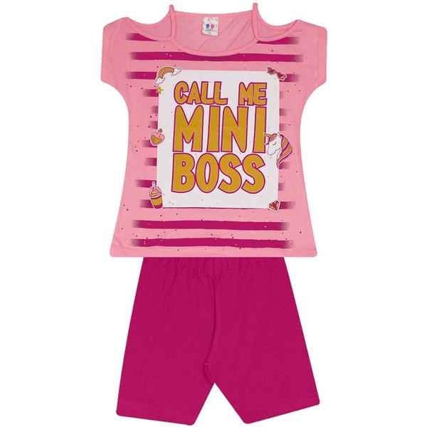 Conjunto Infantil Menina Blusa Mini Boss Rosa e Short Pink