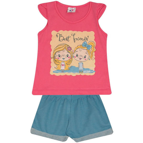 Conjunto Infantil Menina Blusa Best Friend Rosa e Short Azul