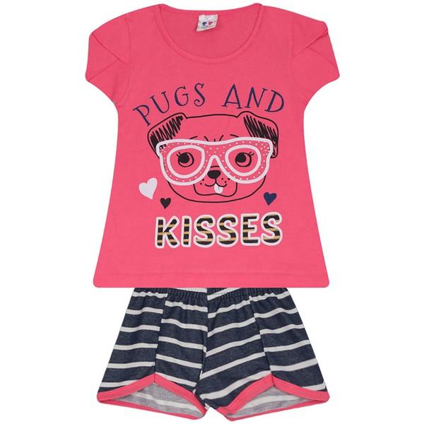 Conjunto Infantil Menina Blusa Pugs Pink e Short Listrado