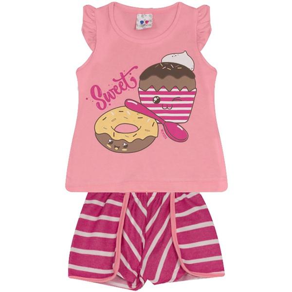Conjunto Infantil Menina Blusa Sweet Rosa e Short Listrado Rosa