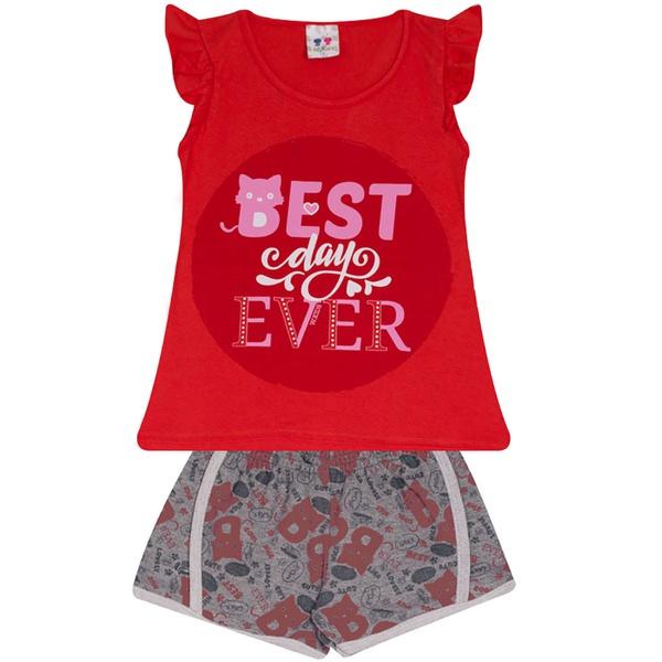 Conjunto Infantil Menina Blusa Best Day Vermelho e Short Estampado