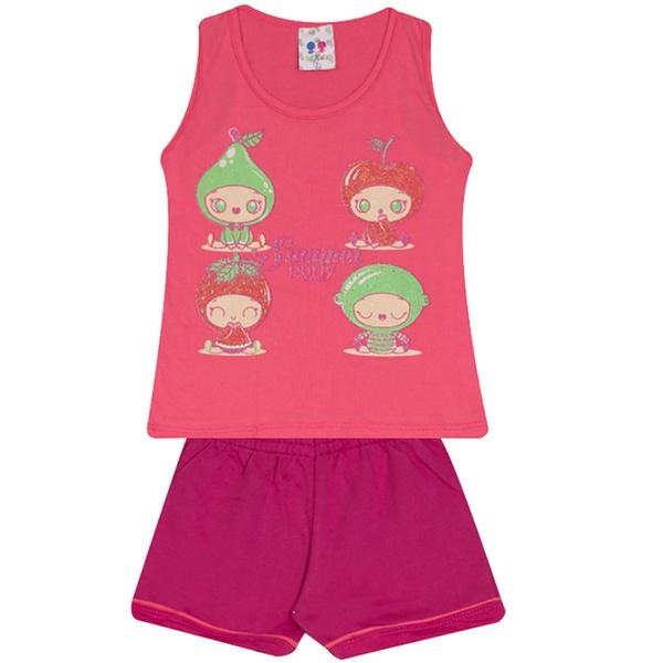 Conjunto Infantil Menina Blusa Frutas Rosa e Short Pink