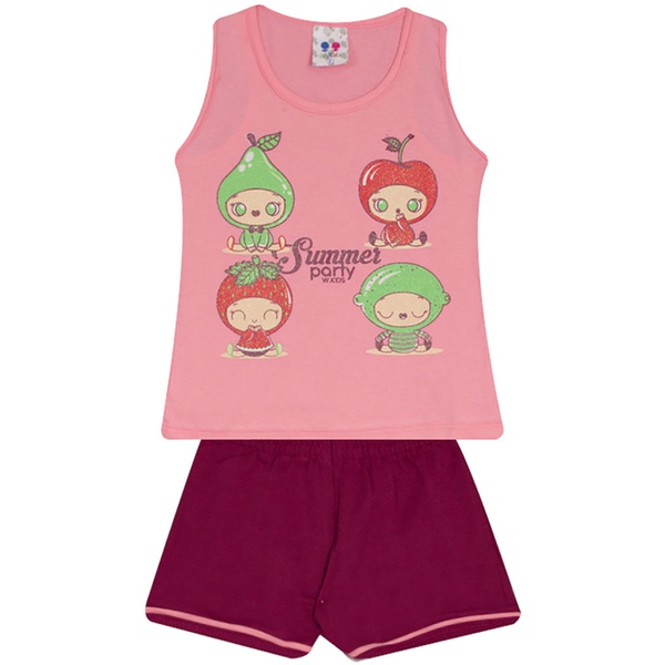 Conjunto Infantil Menina Blusa Frutas Rosa e Short Roxo