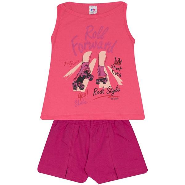 Conjunto Infantil Menina Blusa Roll Forward Rosa e Short Pink