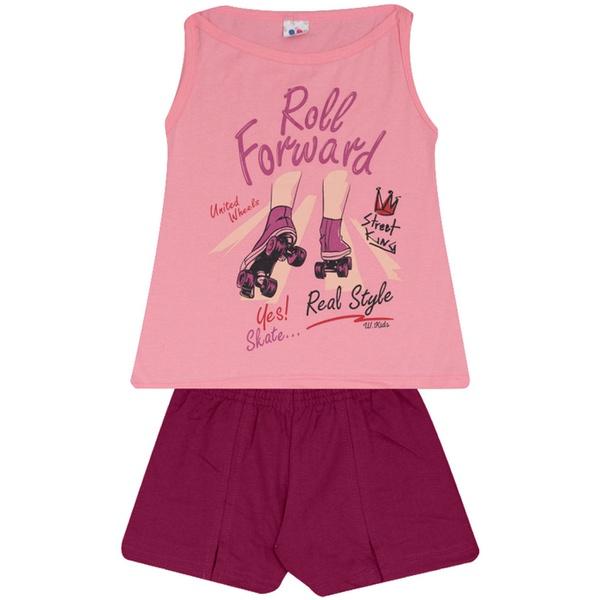 Conjunto Infantil Menina Blusa Roll Forward Rosa e Short Roxo