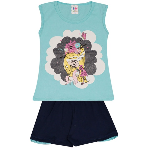 Conjunto Infantil Menina Blusa Rosa Azul e Unicórnio e Short Marinho