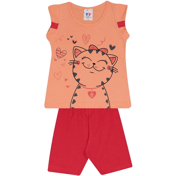 Conjunto Infantil Menina Blusa Gatinha Laranja e Short Vermelho