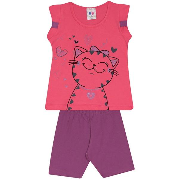 Conjunto Infantil Menina Blusa Gatinha Pink e Short Roxo