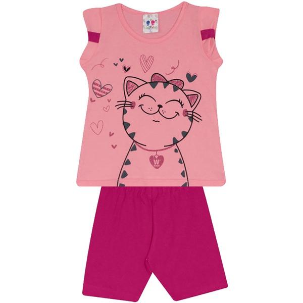 Conjunto Infantil Menina Blusa Gatinha Rosa e Short Pink