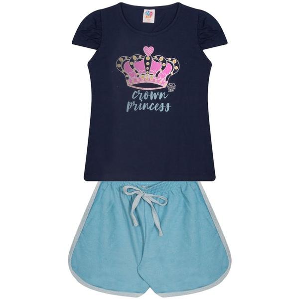 Conjunto Infantil Verão Menina Coroa Princesa Azul Marinho