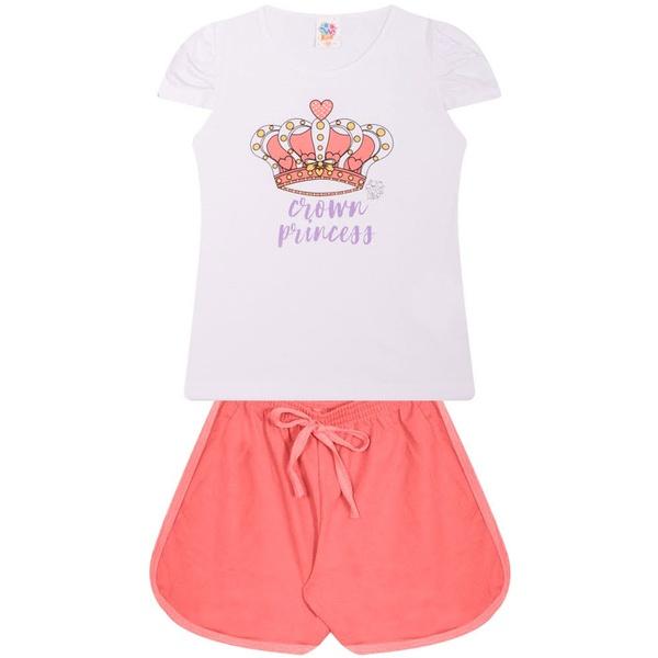 Conjunto Infantil Verão Menina Coroa Princesa Branco