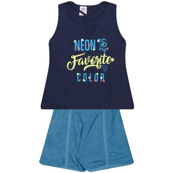 Conjunto Infantil Verão Menina Neon Color Azul Marinho