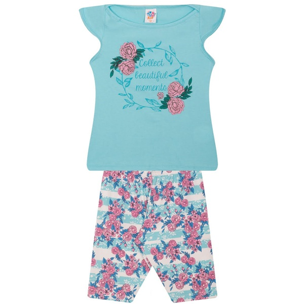 Conjunto Infantil Verão Menina Beautiful Moments Azul