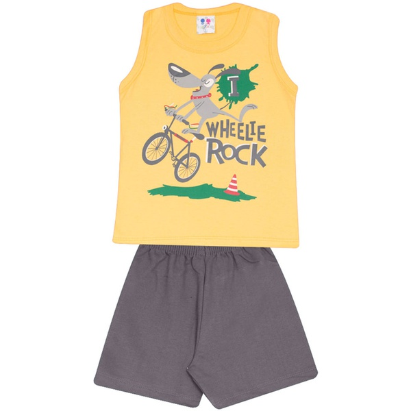 Conjunto Infantil Menino Blusa Amarela Wheelie Rock e Short