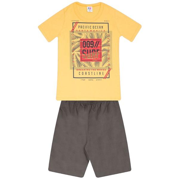 Conjunto Menino Camiseta Amarela Pacific Ocean e Bermuda Tectel