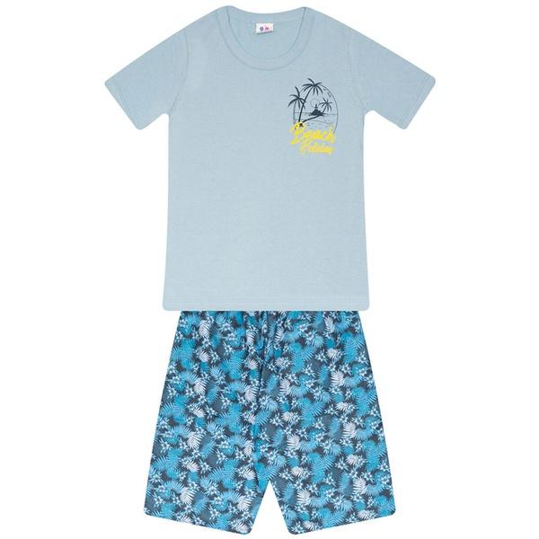 Conjunto Menino Camiseta Azul Beach e Bermuda Tectel