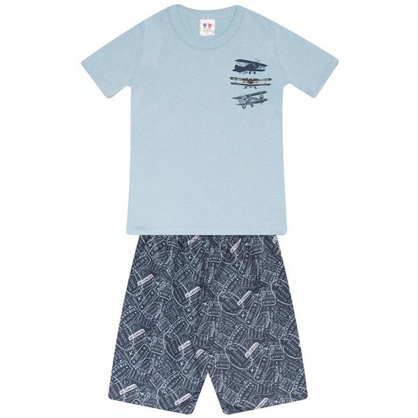 Conjunto Menino Camiseta Azul Airplanes e Bermuda Tectel