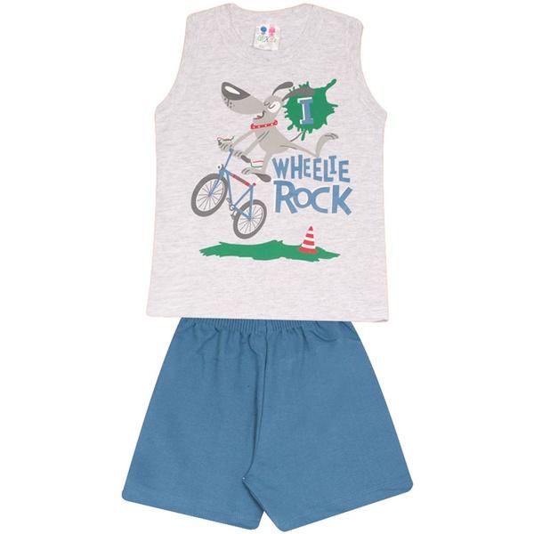 Conjunto Infantil Menino Blusa Cinza Wheelie Rock e Short