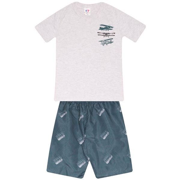 Conjunto Menino Camiseta Cinza Airplanes e Bermuda Tectel