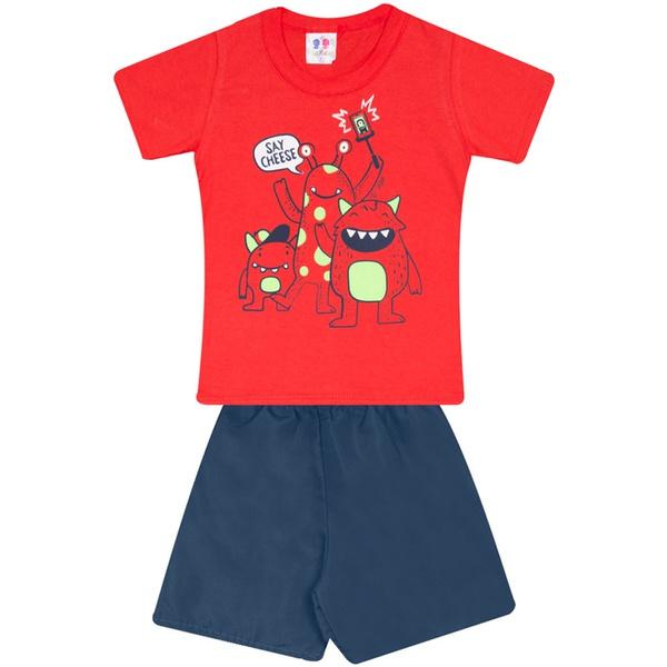 Conjunto Infantil Verão Menino Camiseta Vermelha Say Cheese e Short