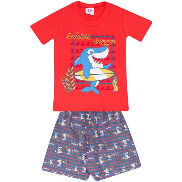 Conjunto Infantil Menino Camiseta Vermelha Tubarão Surfista e Short