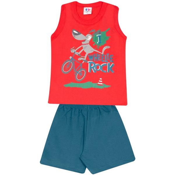 Conjunto Infantil Menino Blusa Vermelha Wheelie Rock e Short