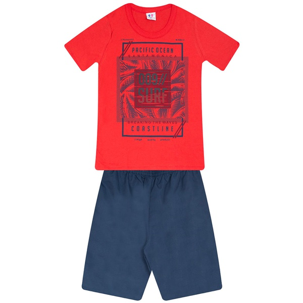Conjunto Menino Camiseta Vermelha Pacific Ocean e Bermuda Tectel