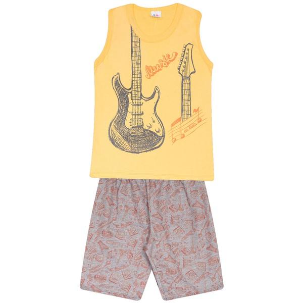 Conjunto Menino Regata Amarela Guitarra e Short Moletinho