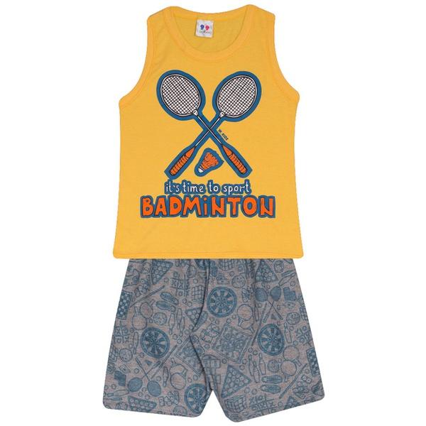 Conjunto Infantil Verão Menino Regata Amarela Badminton e Short Moleton
