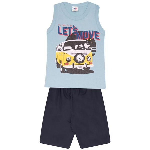 Conjunto Infantil Camiseta Regata e Bermuda Tectel Verão Menino Kombi