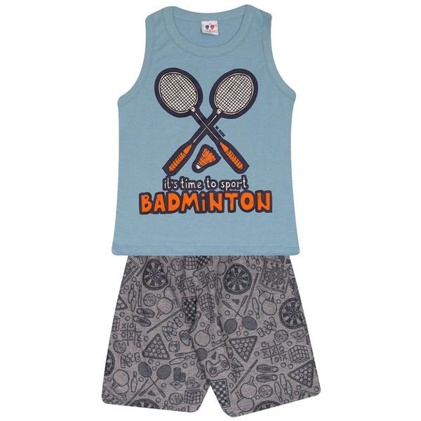 Conjunto Infantil Verão Menino Regata Azul Badminton e Short Moleton