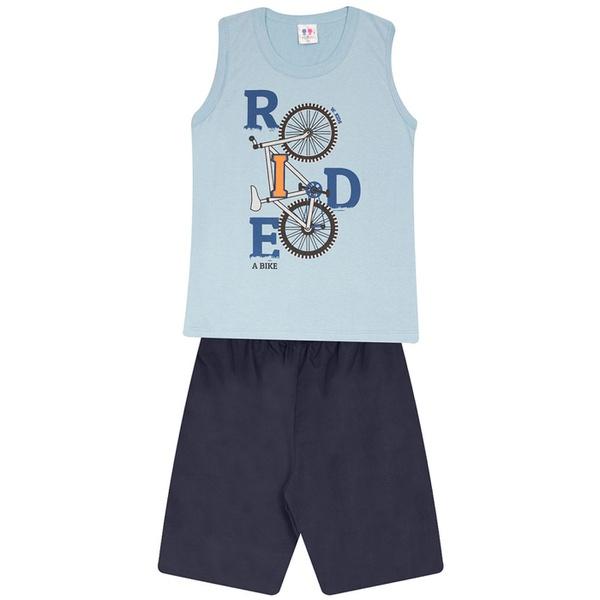 Conjunto Menino Regata Azul Ride Bike e Bermuda Tectel