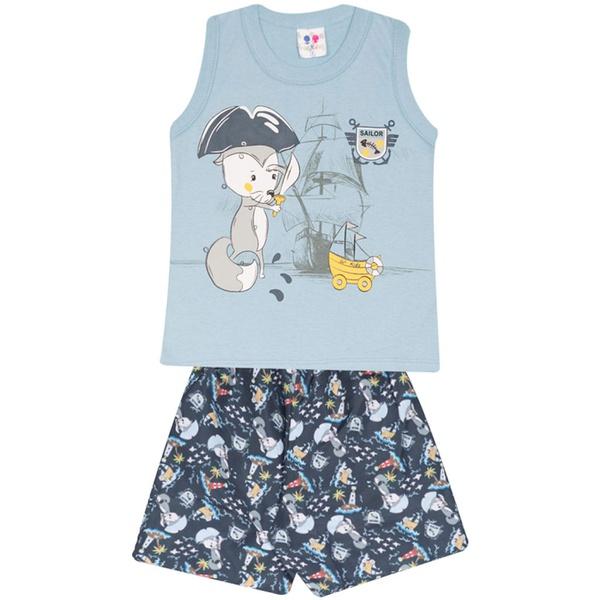Conjunto Infantil Menino Blusa Azul Raposa Pirata e Short