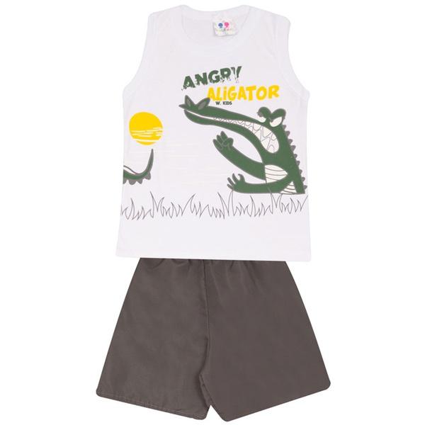 Conjunto Infantil Verão Menino Blusa Branca Aligator e Short