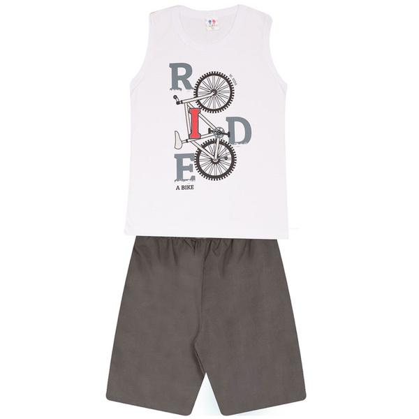 Conjunto Menino Regata Branca Ride Bike e Bermuda Tectel