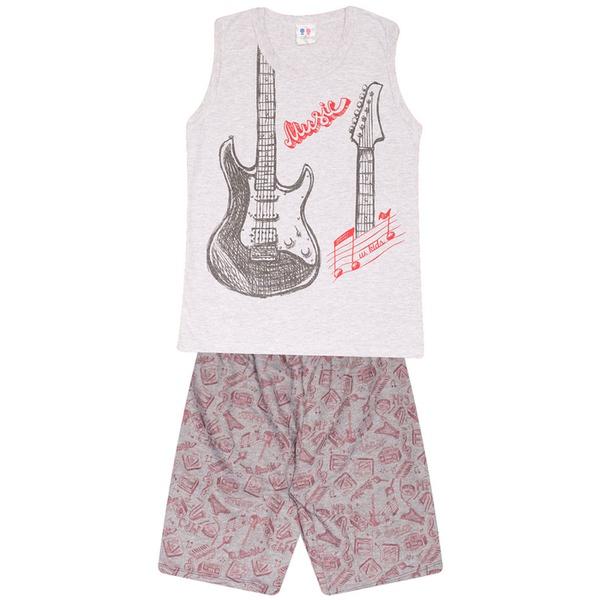 Conjunto Menino Regata Cinza Guitarra e Short Moletinho