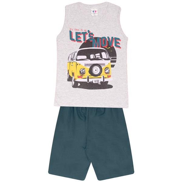 Conjunto Infantil Camiseta Regata Cinza e Bermuda Tectel Verão Menino Kombi