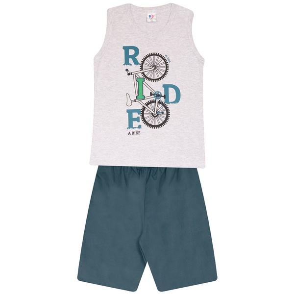 Conjunto Menino Regata Cinza Ride Bike e Bermuda Tectel