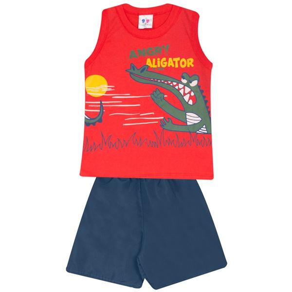 Conjunto Infantil Verão Menino Blusa Vermelha Aligator e Short