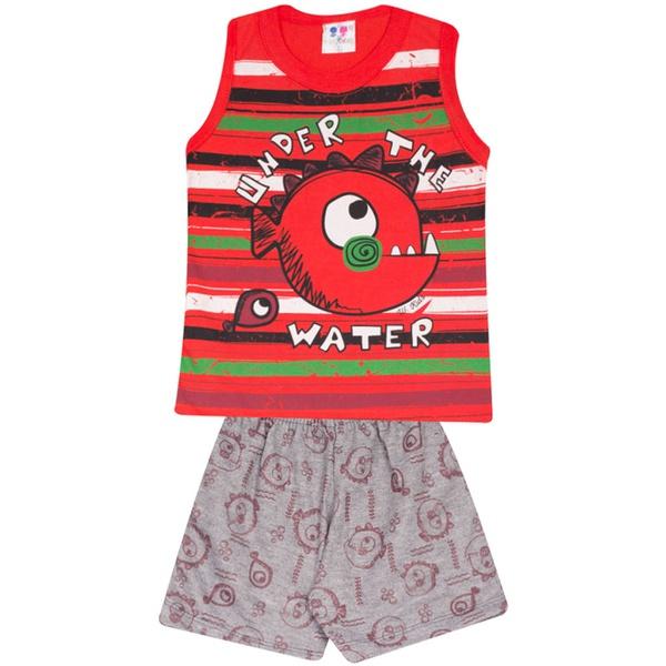 Conjunto Infantil Menino Blusa Vermelha Listrada Under Water e Short