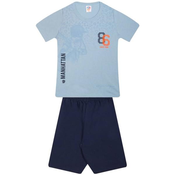Conjunto Infantil Menino Verão Camiseta Vermelha Beisebol + Bermuda Moletinho