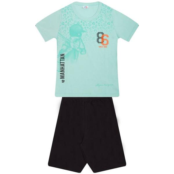Conjunto Infantil Menino Verão Camiseta Verde-Água Beisebol + Bermuda Moletinho
