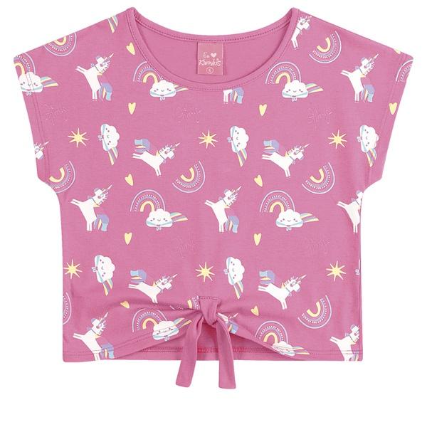Blusa Infantil Menina Unicórnio Rosa Com Detalhe em Nó