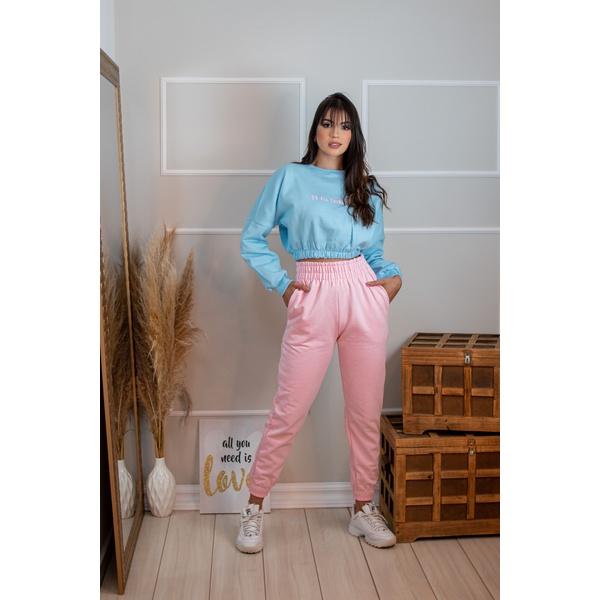 Conjunto de Moletom Alta Tendencia Moda 2021 Azul e Rosa Claro