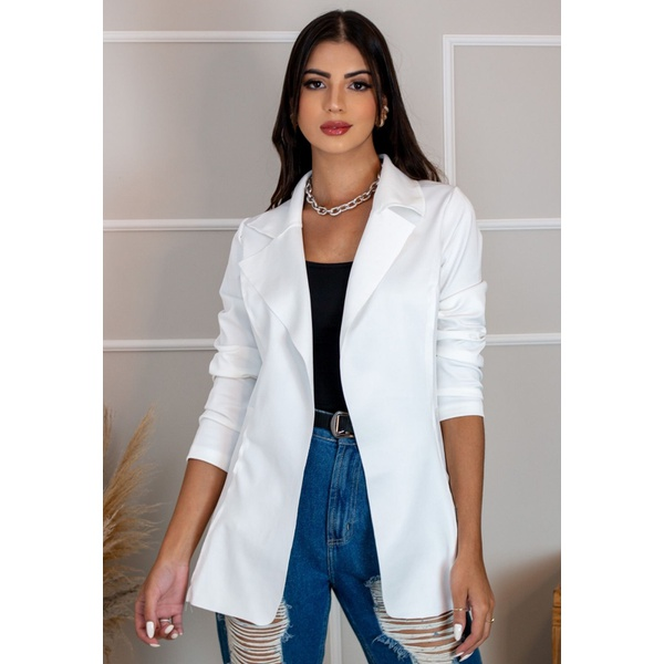 Blazer Feminino Longo A cinturado Sem Forro Modelo Estiloso Branco