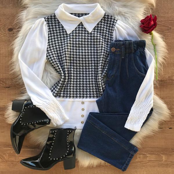 Blusa Tricot Modelo Xadrez Pied Poule Moda Tendência Branco