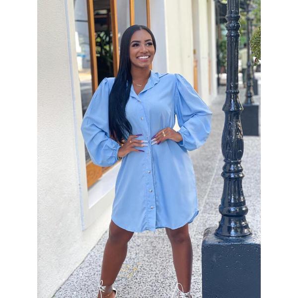 Camisão Chemise Vestido Feminino Azul